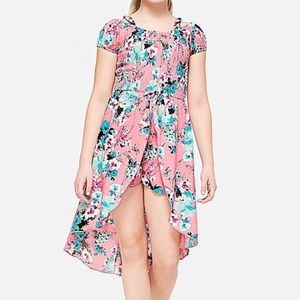 Girl's Pink Floral Skirted Romper